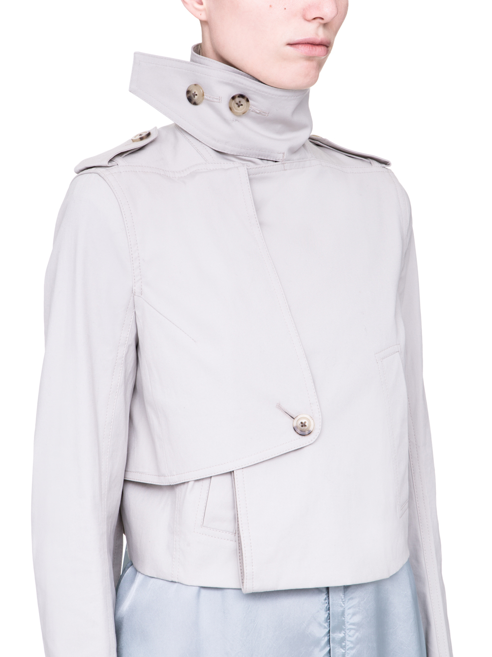RICK OWENS SS19 BABEL SHORT TRENCH IN OYSTER LIGHT GREY