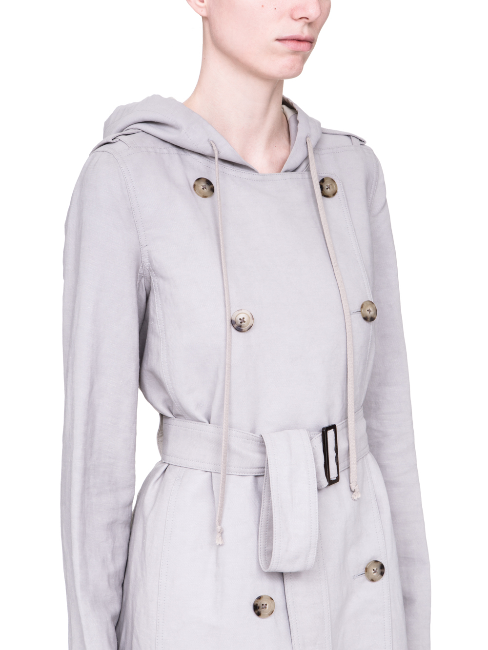 RICK OWENS SS19 BABEL SOFT TRENCH IN OYSTER LIGHT GREY
