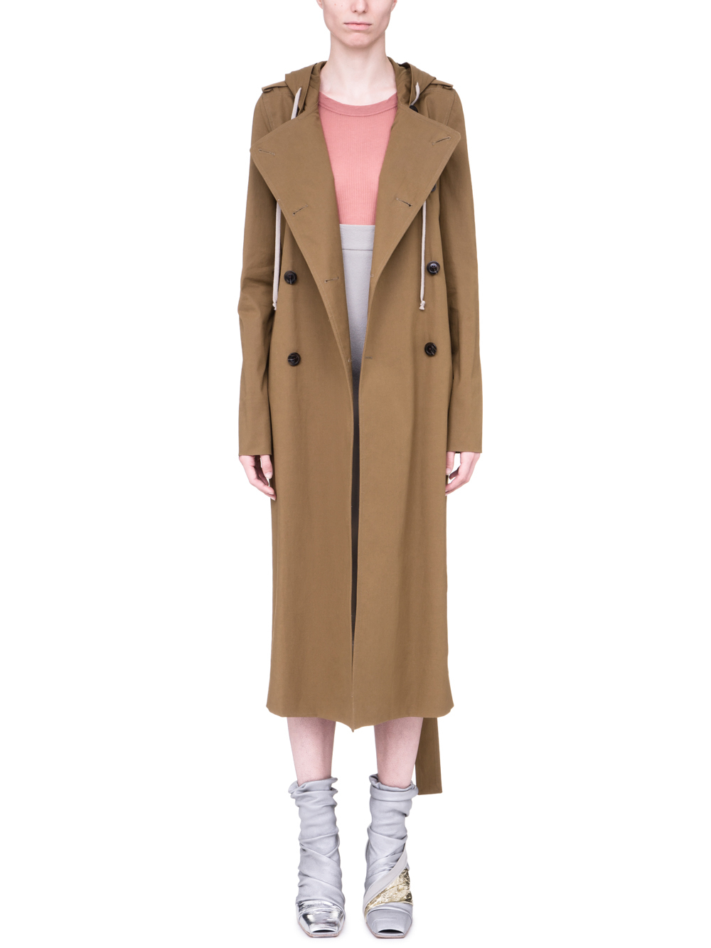 RICK OWENS SS19 BABEL SOFT TRENCH IN MUSTARD GREEN
