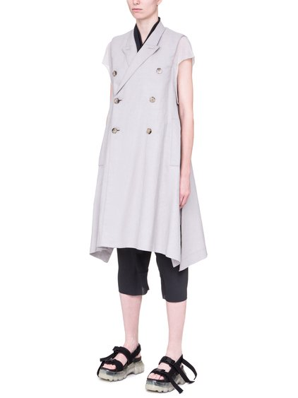 RICK OWENS SS19 BABEL JMF FAUN COAT IN OYSTER LIGHT GREY WAXED DENIM