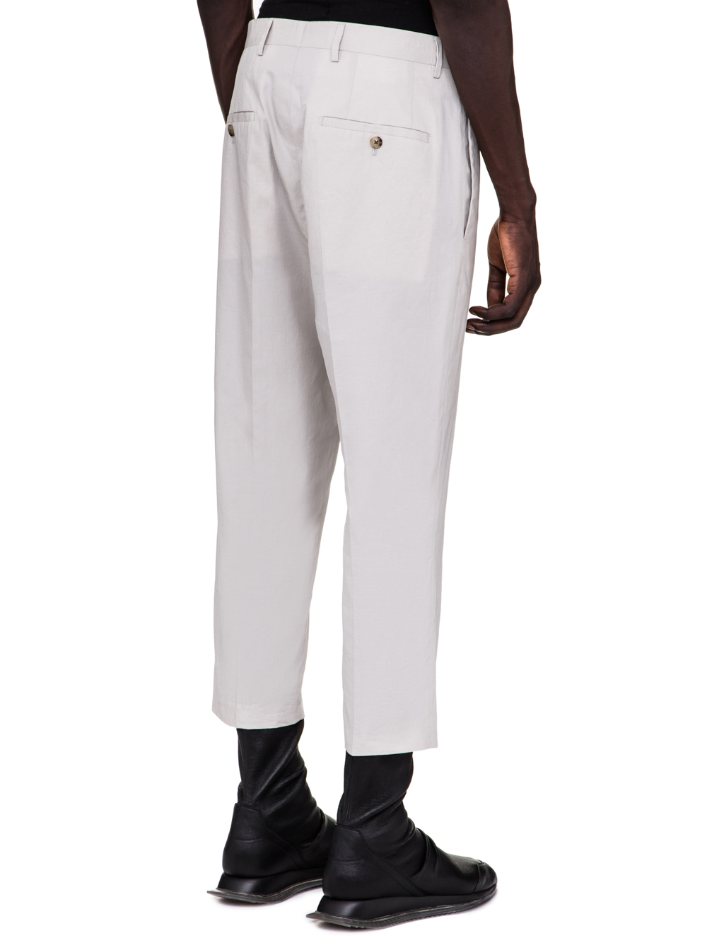 RICK OWENS SS19 BABEL SLIM CROPPED ASTAIRES TROUSERS IN OYSTER LIGHT GREY