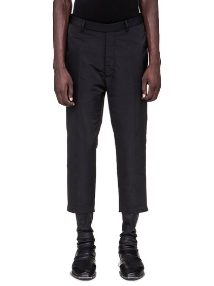 RICK OWENS SS19 BABEL SLIM CROPPED ASTAIRES TROUSERS IN BLACK