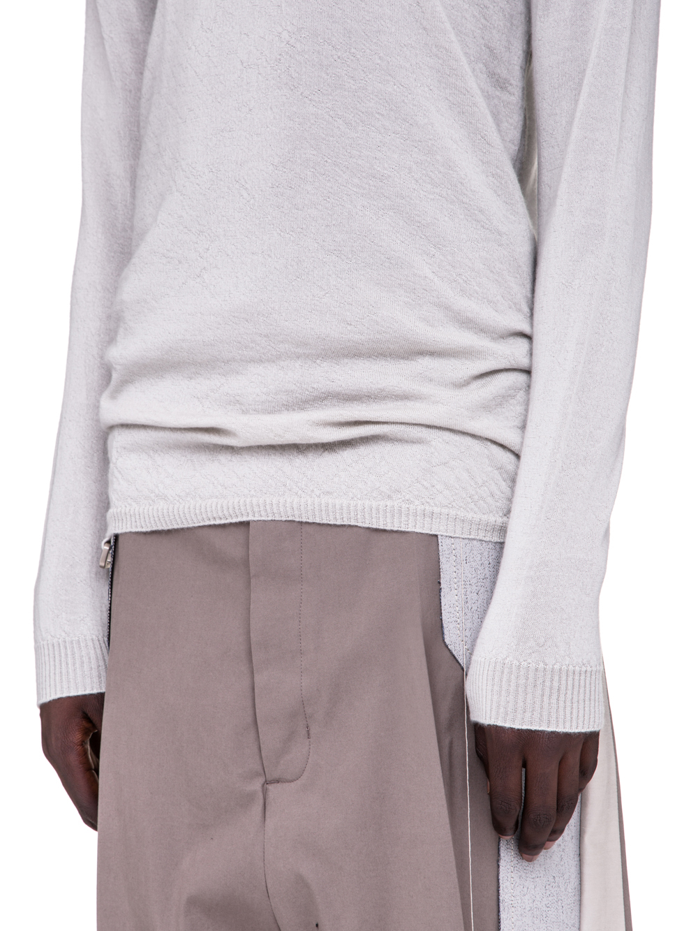 RICK OWENS SS19 BABEL ROUND NECK SWEATER IN OYSTER LIGHT GREY CASHMERE