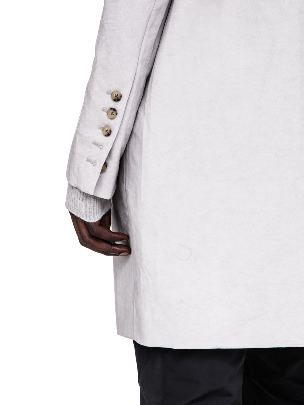 RICK OWENS SS19 BABEL MOREAU PEACOAT IN OYSTER LIGHT GREY