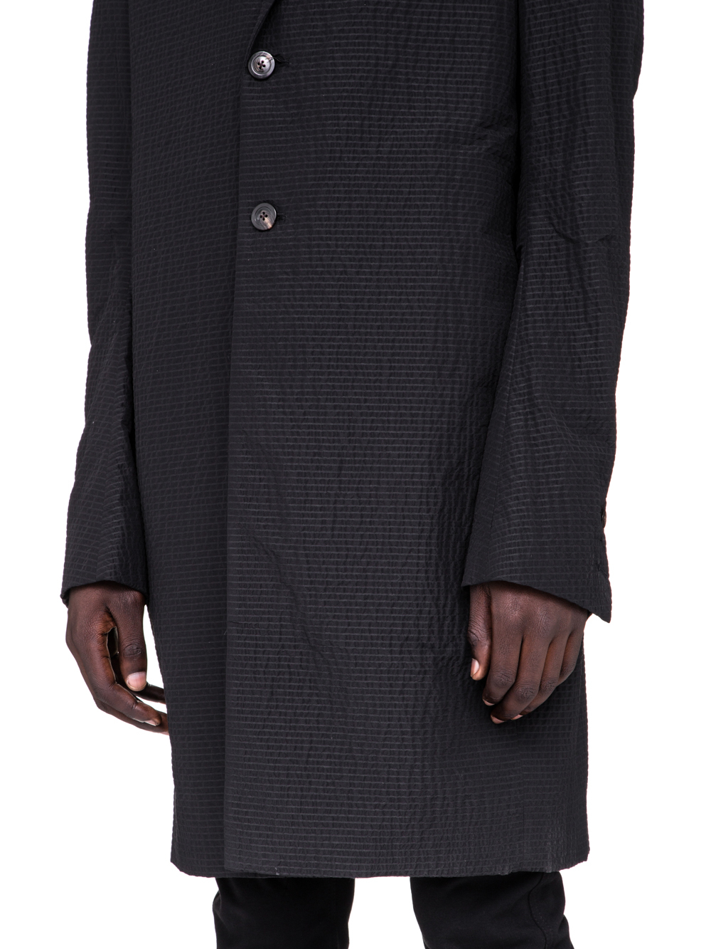 RICK OWENS SS19 BABEL MOREAU PEACOAT IN BLACK