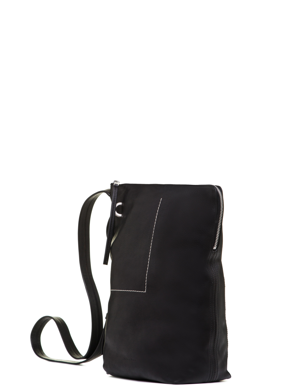 RICK OWENS SS19 BABEL SMALL BUCKET IN BLACK VEGETAL TANNED COW LEATHER