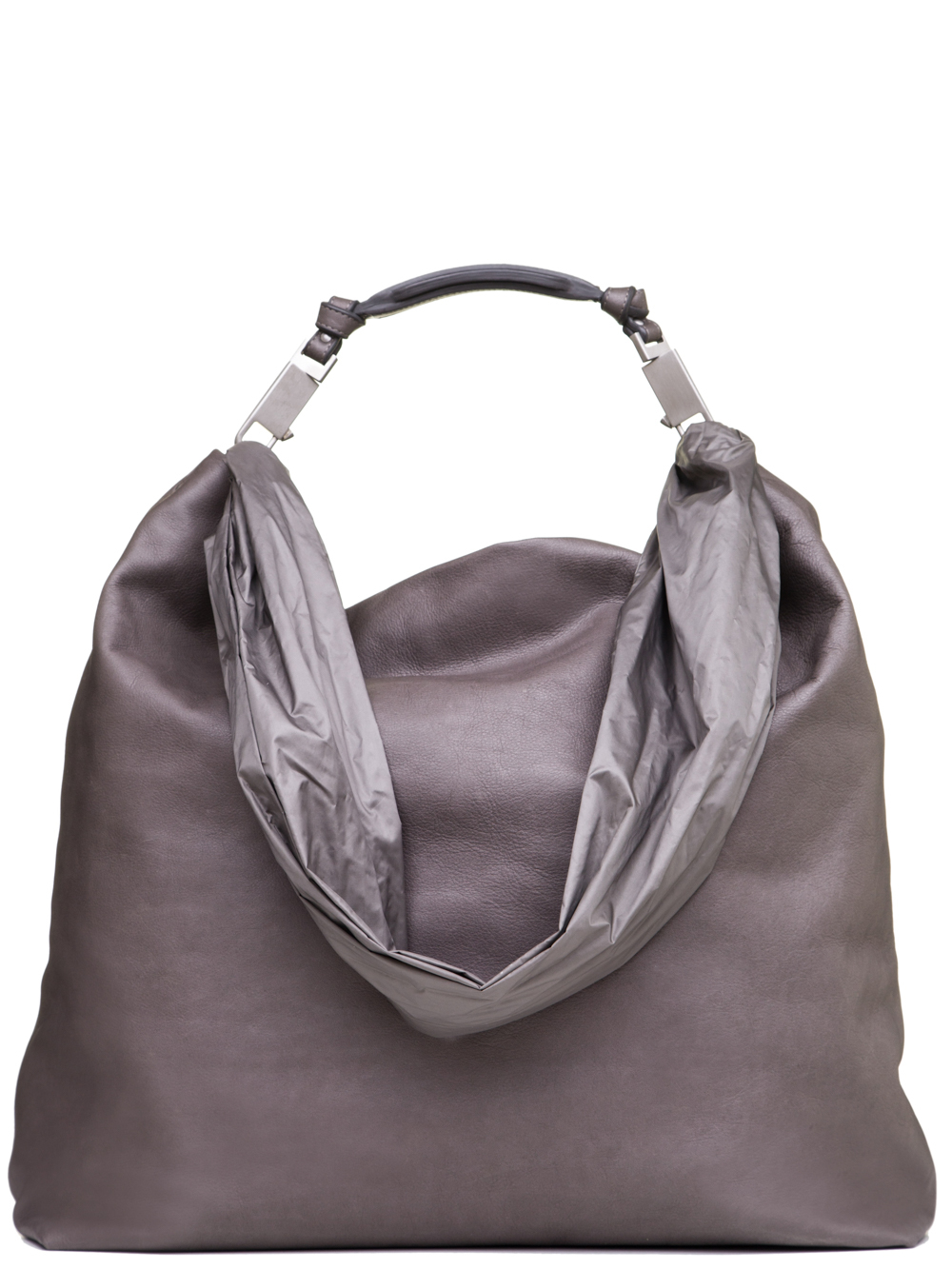RICK OWENS SS19 BABEL MEDIUM BALOON BAG IN DUST GREY CALF LEATHER