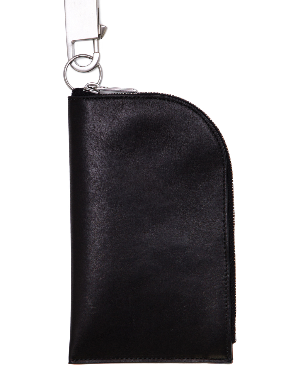 RICK OWENS SS19 BABEL CLASSIC NECKWALLET IN BLACK LEATHER