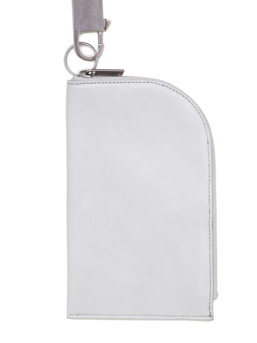 RICK OWENS SS19 BABEL CHAIN NECKWALLET IN OYSTER LIGHT GREY BABY CALF LEATHER