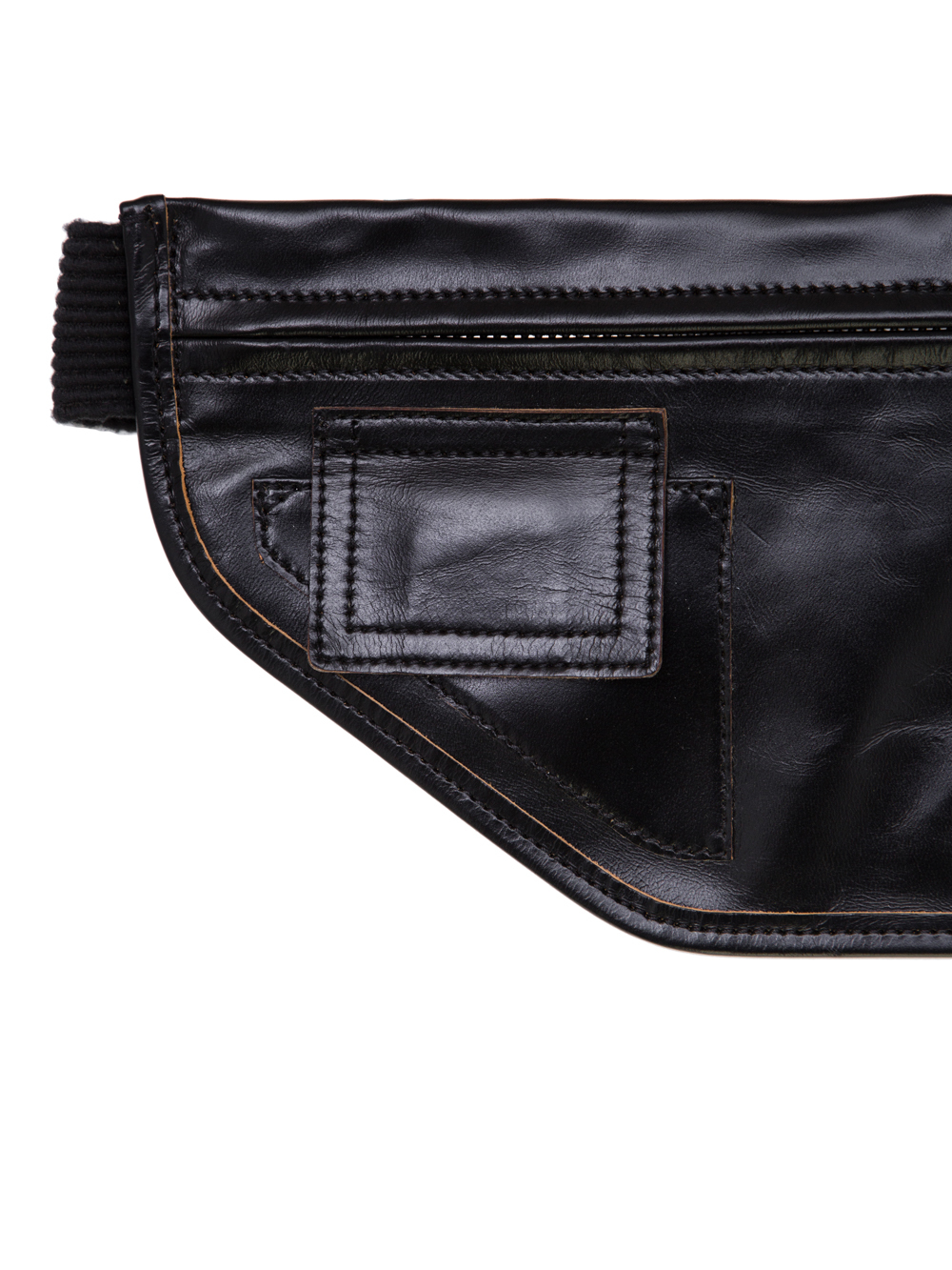 RICK OWENS SS19 BABEL MONEY BELT IN BLACK LEATHER
