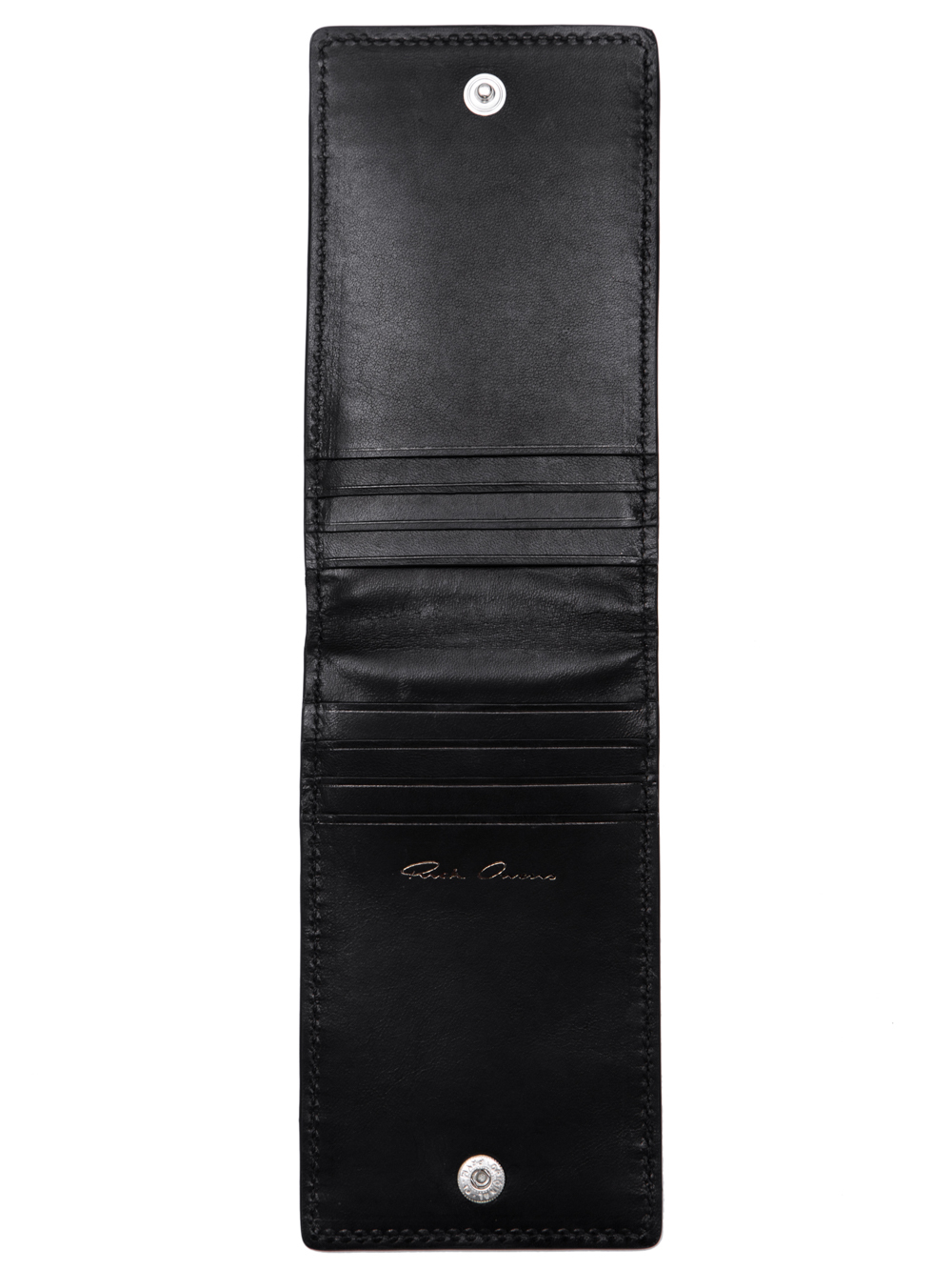 RICK OWENS SS19 BABEL BILLFOLD CREDIT CARD HOLDER IN BLACK LEATHER