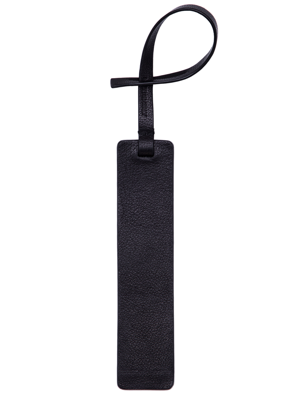 RICK OWENS SS19 BABEL TAG AMULET IN BLACK BUFFALO LEATHER