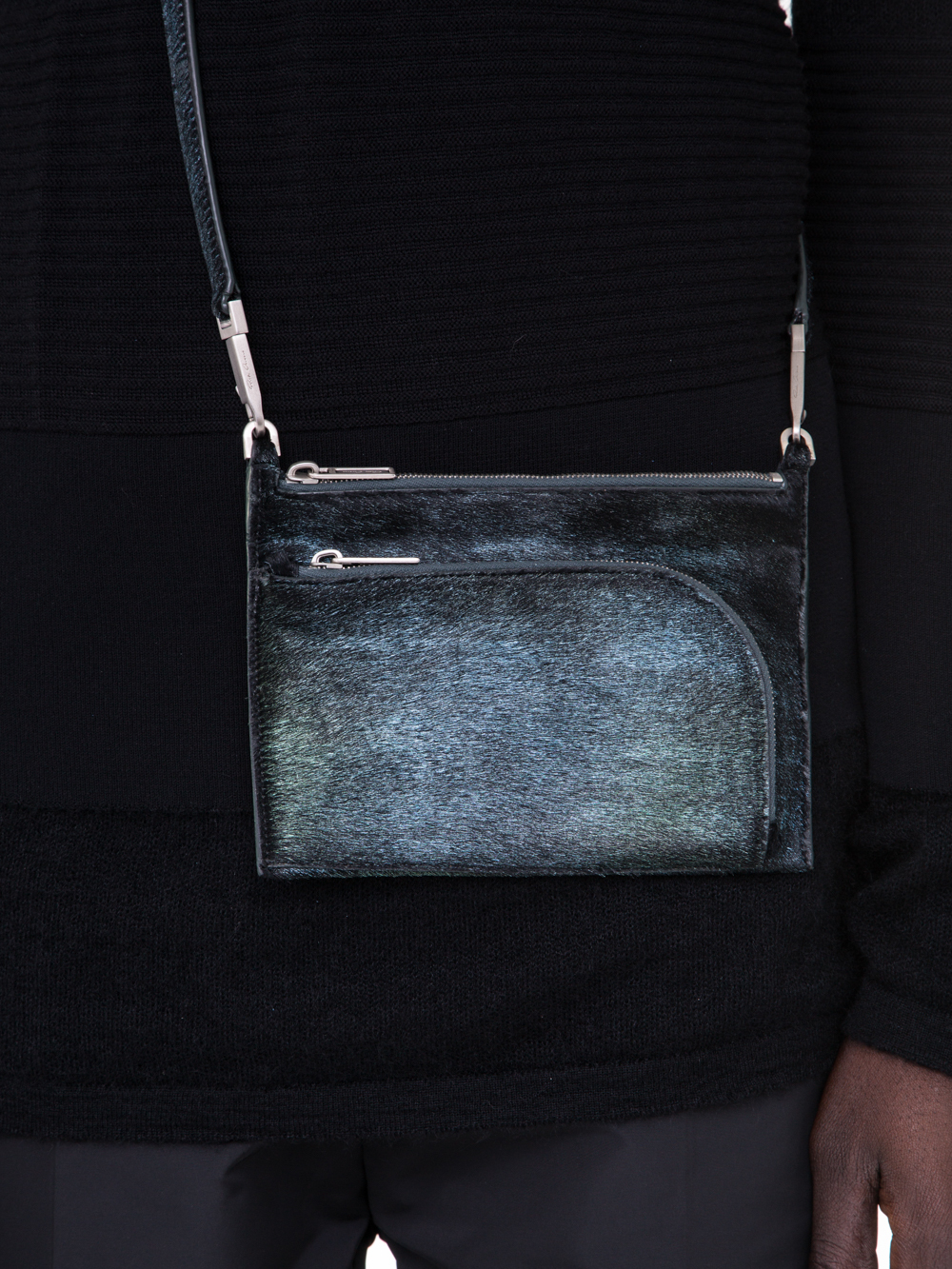 RICK OWENS SS19 BABEL CLUB POUCH IN IRIDESCENT BLUE LEATHER