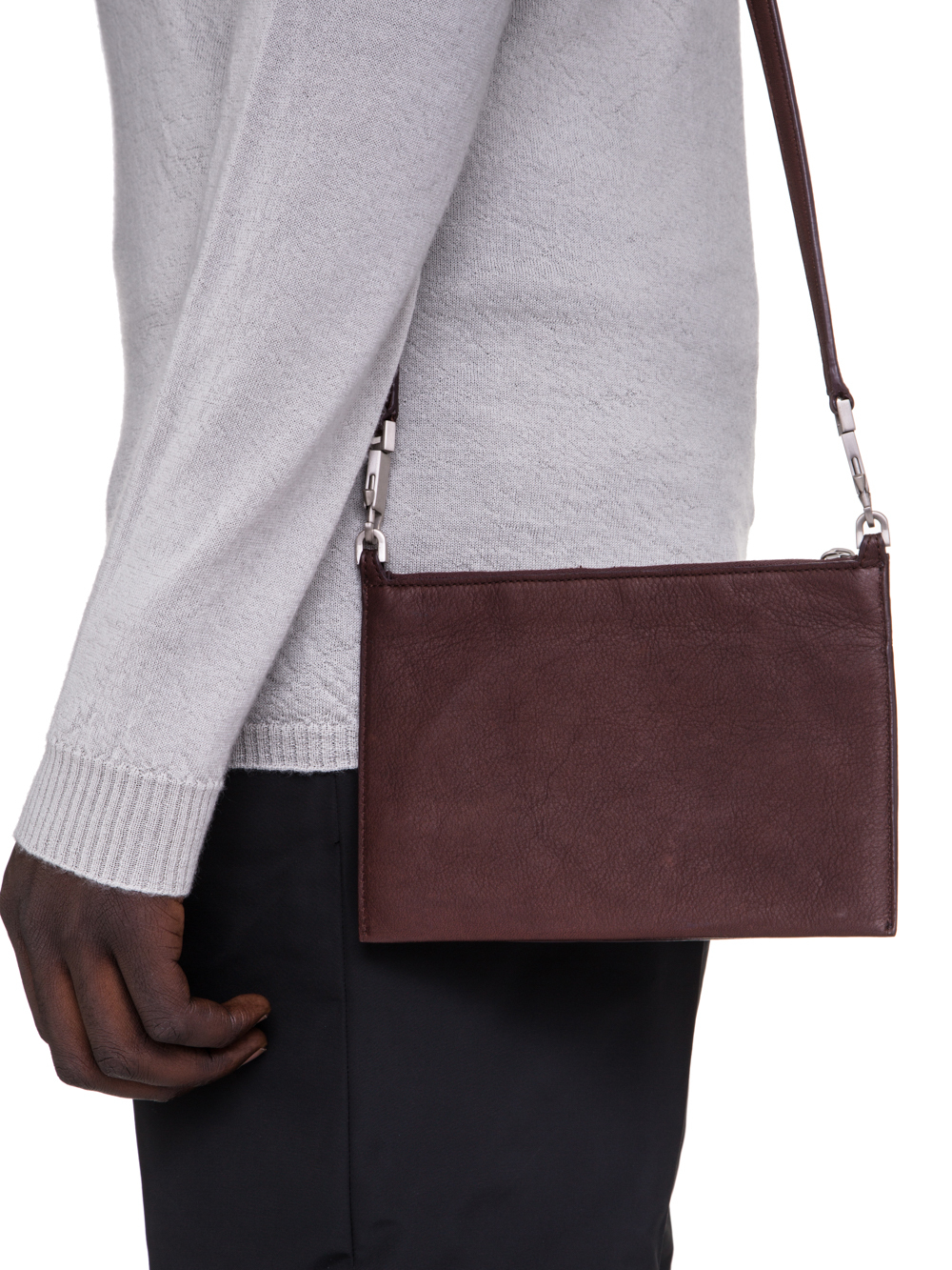 RICK OWENS SS19 BABEL CLUB POUCH IN BLOOD BROWN CALF LEATHER