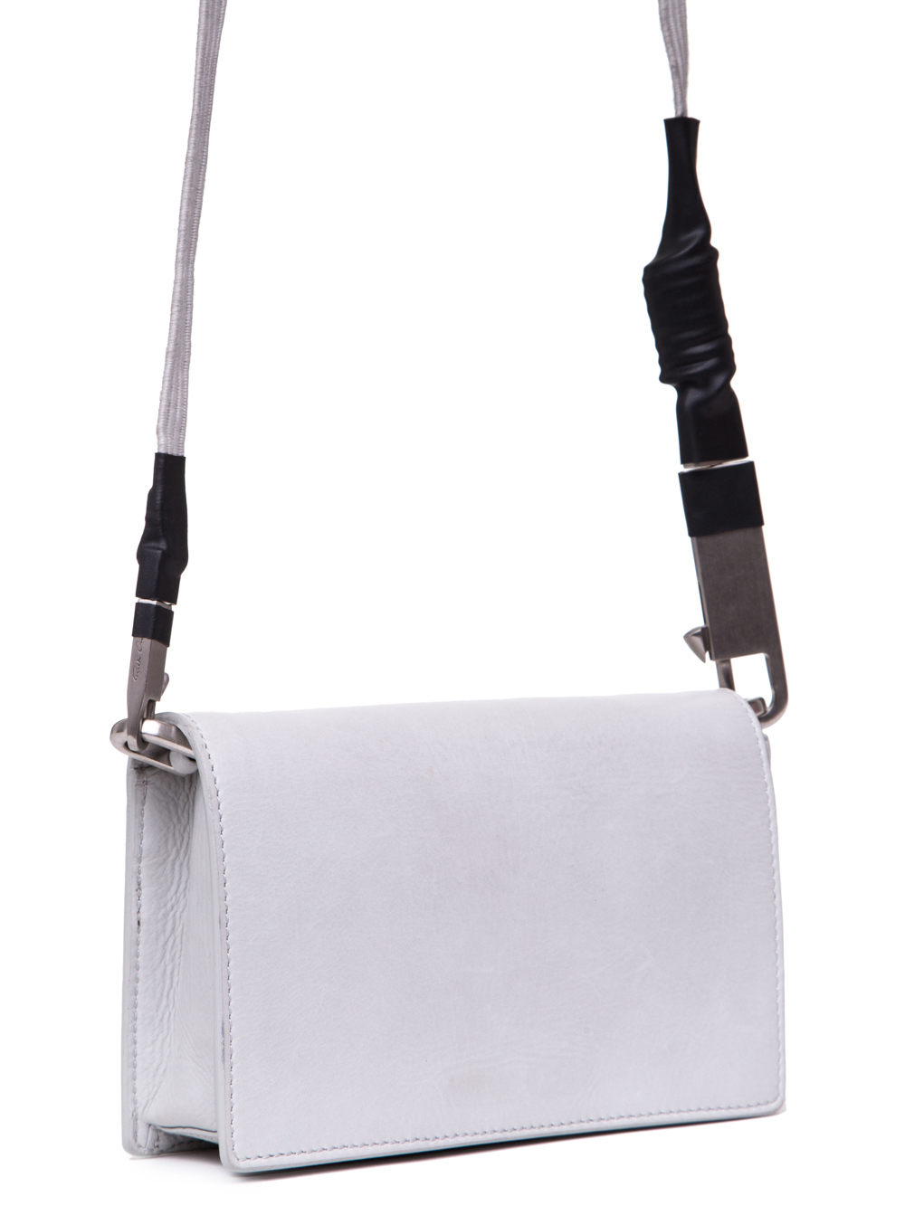 RICK OWENS SS19 BABEL LUNCH BAG IN OYSTER LIGHT GREY BABY CALF LEATHER