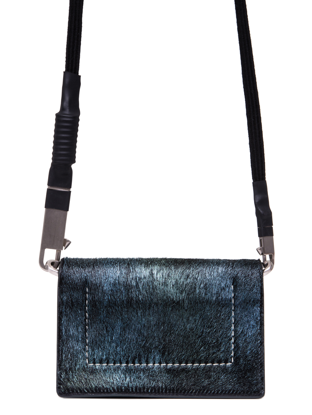 RICK OWENS SS19 BABEL LUNCH BAG IN IRIDESCENT BLUE LEATHER