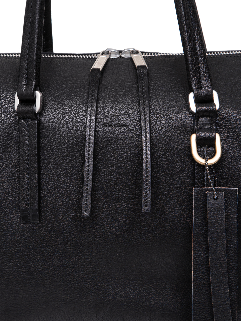 RICK OWENS SS19 BABEL DAY BAG IN BLACK VEGETAL TANNED HORSE LEATHER