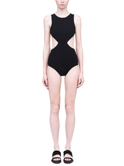 RICK OWENS SS19 BABEL NOTCHED ONE PIECE SWIMSUIT IN BLACK