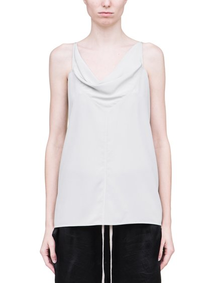 RICK OWENS SS19 BABEL NASKA TOP IN OYSTER LIGHT GREY SILK