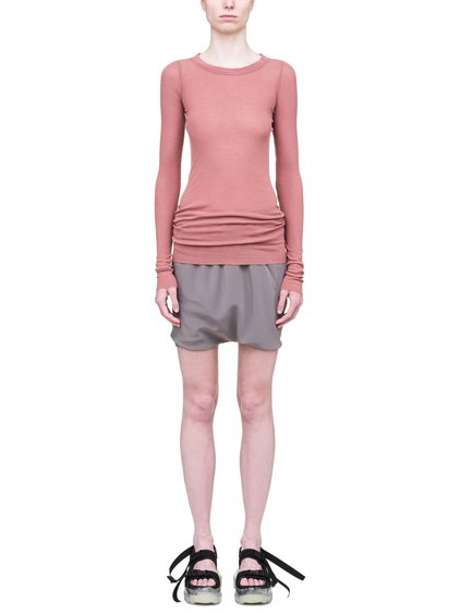 RICK OWENS SS19 BABEL LONG SLEEVE RIB TEE IN CYCLAMEN PINK VISCOSE SILK RIB