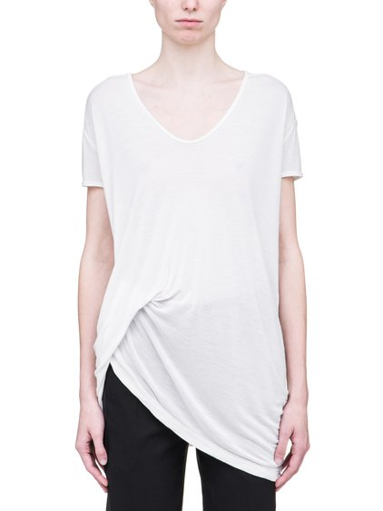 RICK OWENS SS19 BABEL HIKED TEE IN MILK WHITE VISCOSE SILK