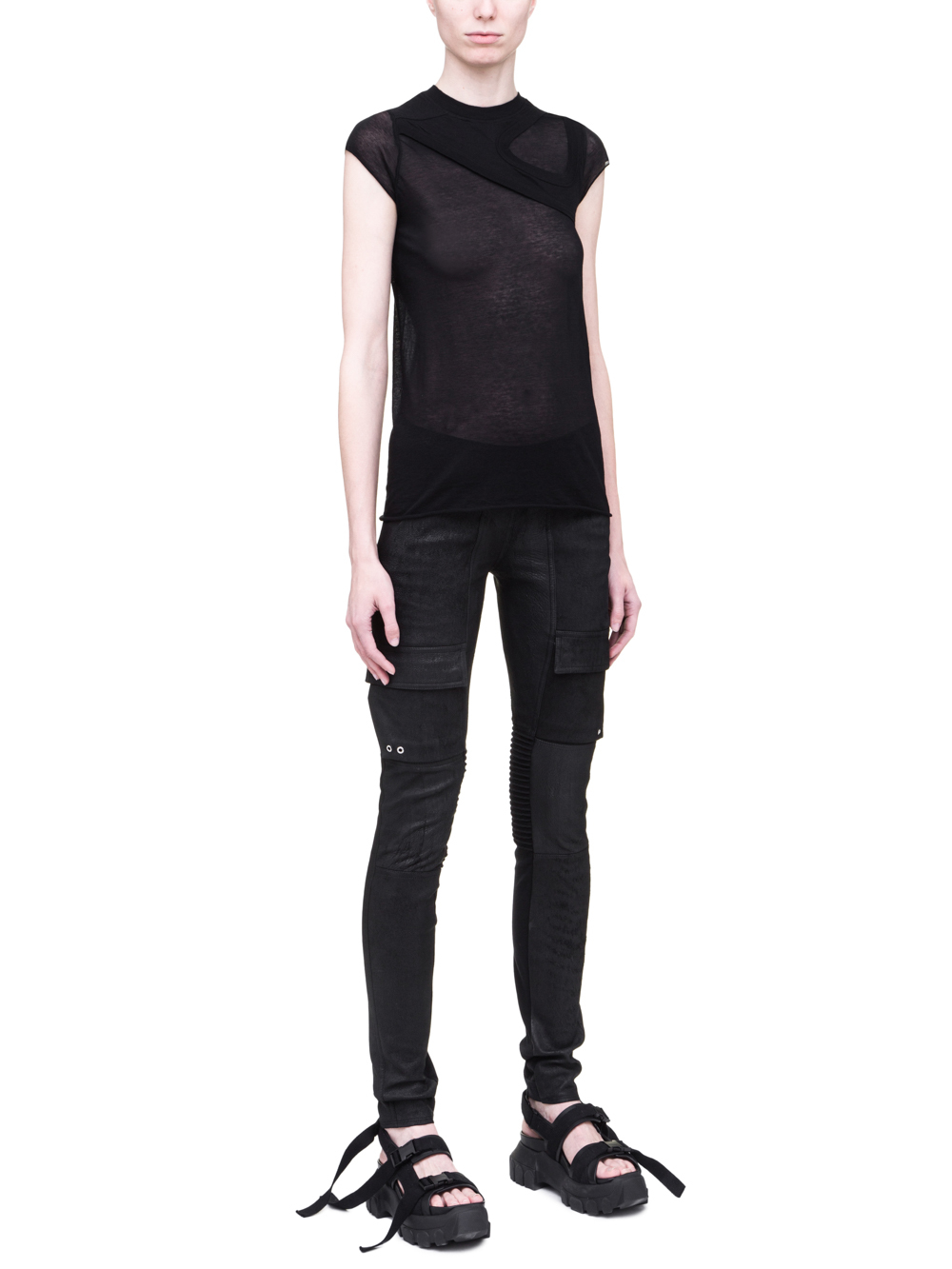 RICK OWENS SS19 BABEL ONE AND ONE QUARTER TEE IN BLACK LIGHT COTTON