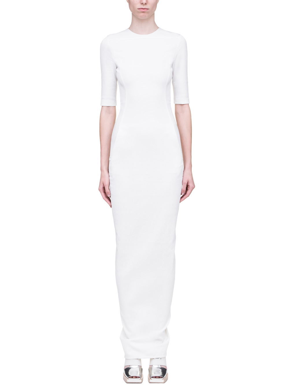Rick Owens Ss19 L Office Gown In Milk White