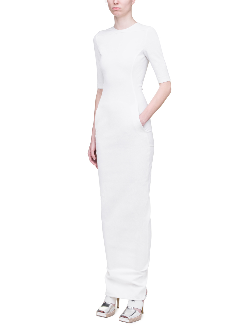 RICK OWENS SS19 BABEL OFFICE GOWN IN MILK WHITE