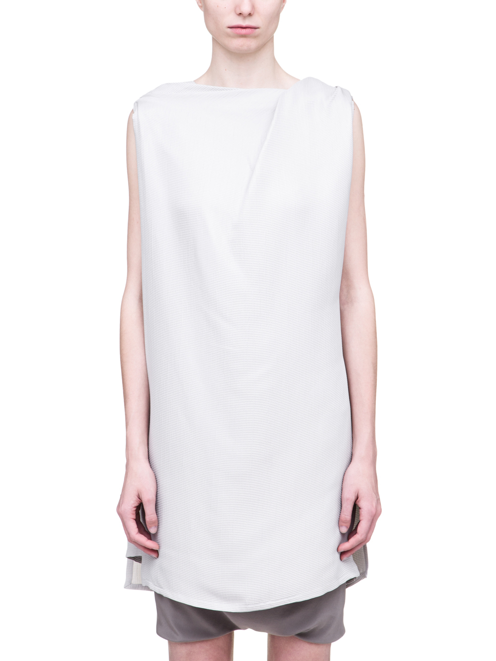 RICK OWENS SS19 BABEL TOGA TOP IN OYSTER LIGHT GREY SILK