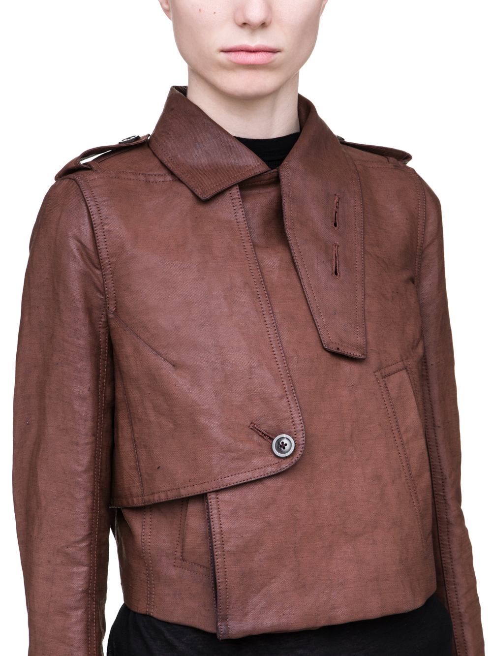 RICK OWENS SS19 BABEL SHORT TRENCH IN BLOOD RED WAXED COTTON
