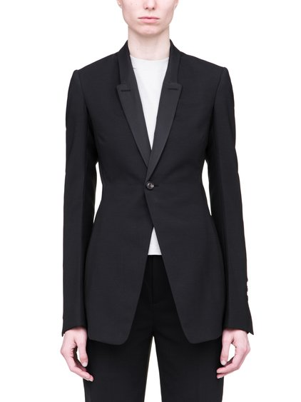 RICK OWENS SS19 BABEL SOFT BLAZER IN BLACK WOOL
