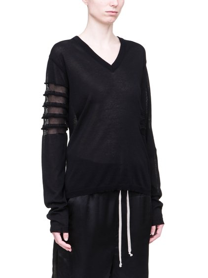 RICK OWENS SS19 BABEL SOFT V NECK SWEATSHIRT IN BLACK LIGHT COTTON