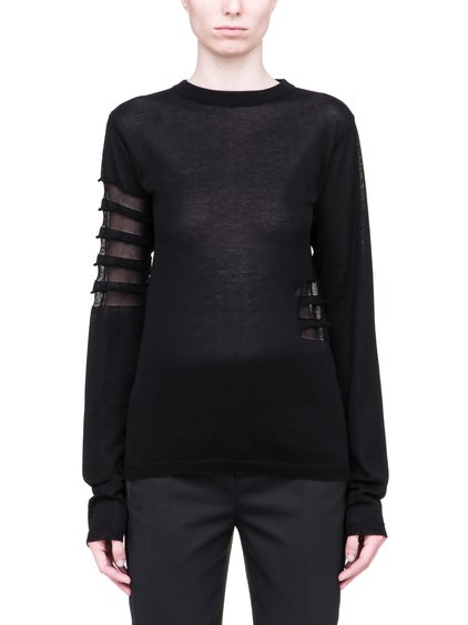 RICK OWENS SS19 BABEL BIKER LEVEL ROUND NECK SWEATSHIRT IN LIGHT COTTON