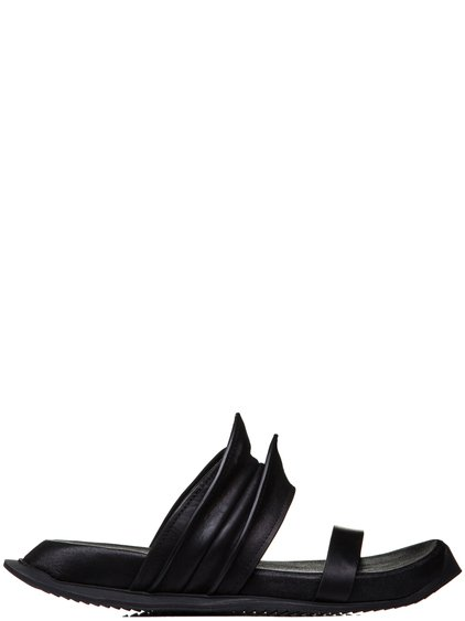 RICK OWENS SS19 BABEL RHINO FLAT SANDALS IN BLACK LEATHER