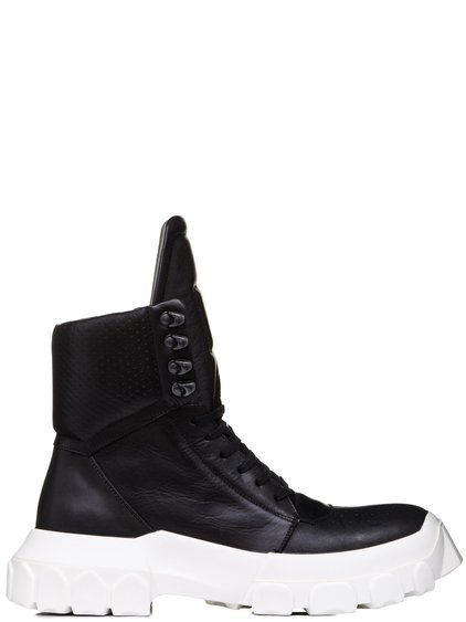 RICK OWENS SS19 BABEL HIKING SNEAKERS IN BLACK LEATHER