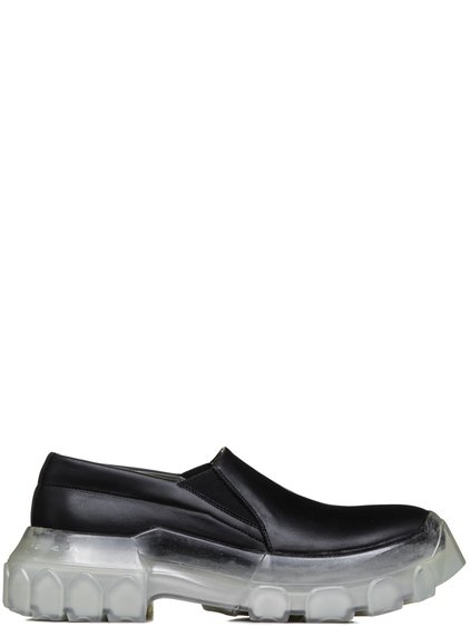 "RICK OWENS SS19 BABEL TRACTOR BOAT SNEAKERS IN BLACK CALF LEATHER """"CLEAR"""" TRANSPARENT TRACTOR SOLES"