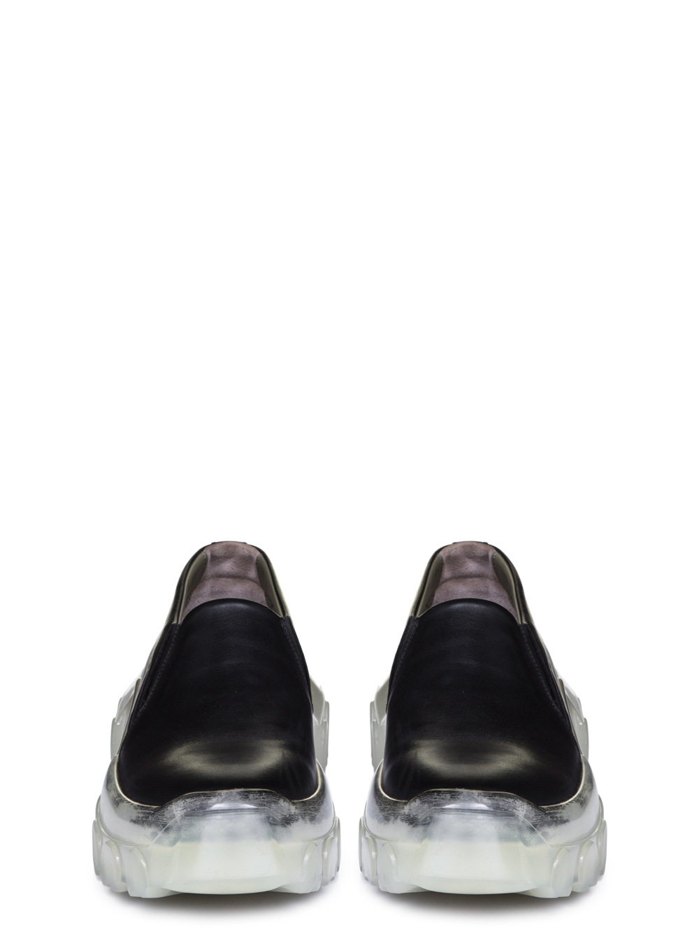 """RICK OWENS SS19 BABEL TRACTOR BOAT SNEAKERS IN BLACK CALF LEATHER """"""""CLEAR"""""""" TRANSPARENT TRACTOR SOLES"""