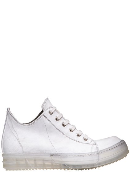 RICK OWENS SS19 BABEL NO CAP LOW SNEAKERS IN MILK WHITE