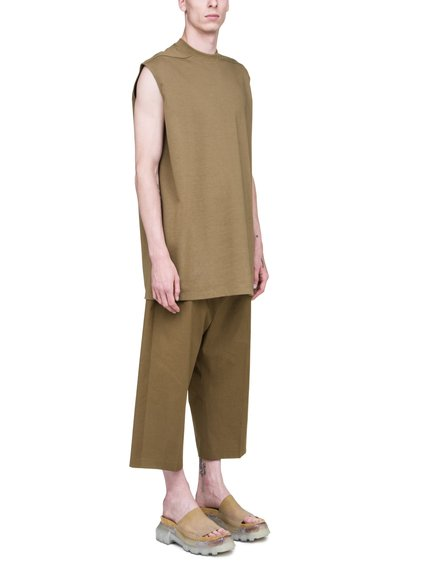 RICK OWENS SS19 BABEL TARP TEE IN MUSTARD GREEN COTTON JERSEY