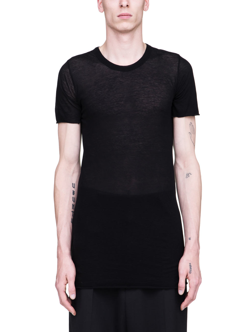 RICK OWENS SS19 BABEL BASIC SHORTSLEEVE TEE IN BLACK UNSTABLE COTTON