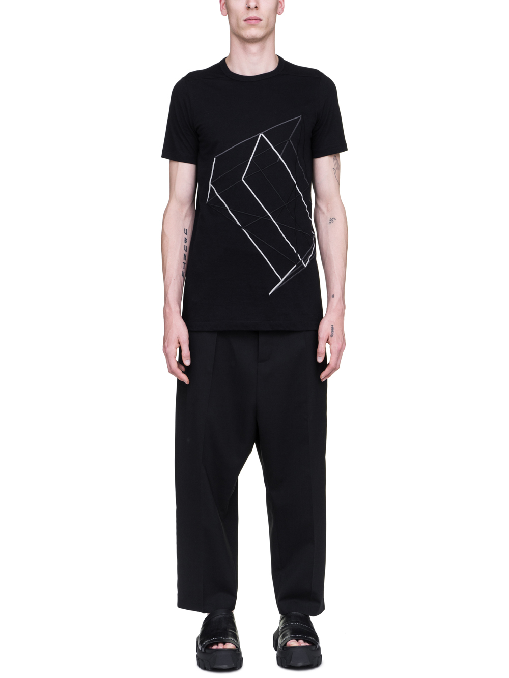 RICK OWENS SS19 BABEL LEVEL TEE IN BLACK COTTON