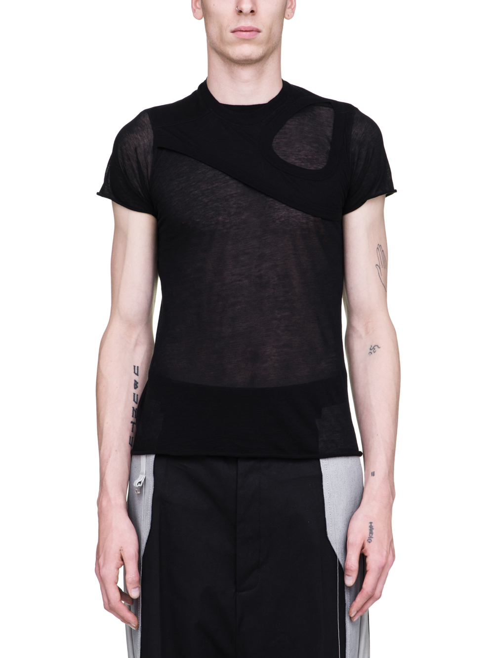RICK OWENS SS19 BABEL LEVEL SHORTSLEEVE TEE WITH MEMBRANE