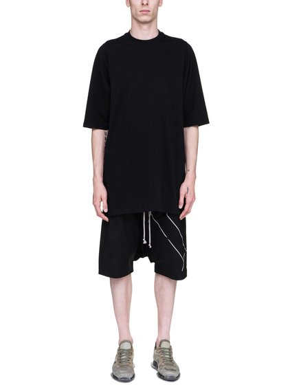 RICK OWENS SS19 BABEL CREWNECK SHORT-SLEEVE SWEATER IN BLACK COTTON JERSEY