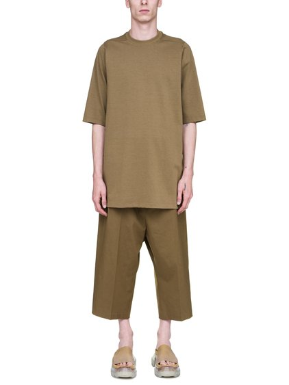 RICK OWENS SS19 BABEL CREWNECK SHORT-SLEEVE SWEATER IN MUSTARD GREEN COTTON