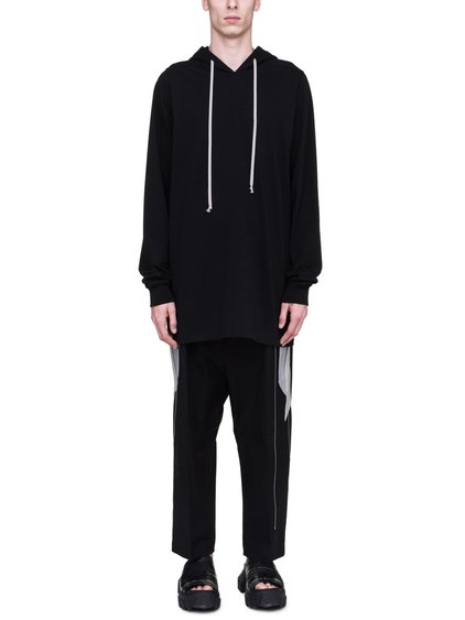 RICK OWENS SS19 BABEL HOODIE IN BLACK COTTON JERSEY
