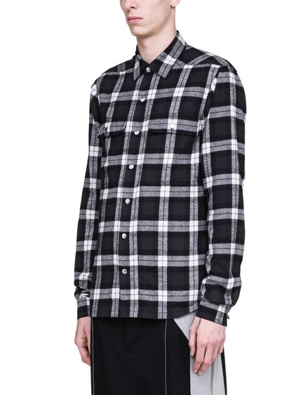 RICK OWENS SS19 BABEL OUTERSHIRT IN BLACK AND MILK WHITE PLAID