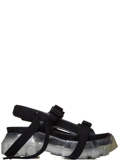 "RICK OWENS SS19 BABEL TRACTOR SANDALS IN BLACK LEATHER ""CLEAR"" SOLE"