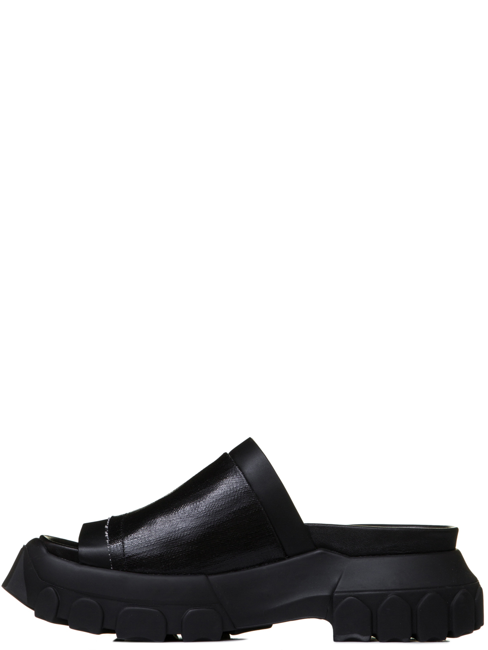 RICK OWENS SS19 BABEL TRACTOR SLIDES IN BLACK