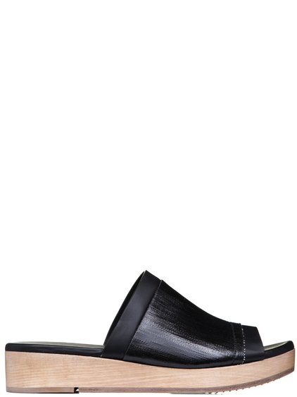 RICK OWENS SS19 BABEL ISLAND CLOG COMBOS IN BLACK LEATHER WOOD COLOR SOLES