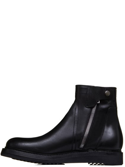 RICK OWENS SS19 BABEL CREEPER SLIM BOOTS IN BLACK CALF LEATHER